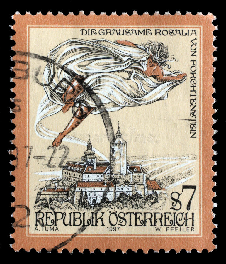Stamp printed in the Austria shows The Cruel Lady of Forchtenstein Castle. Burgenland, circa 1997 royalty free stock photography