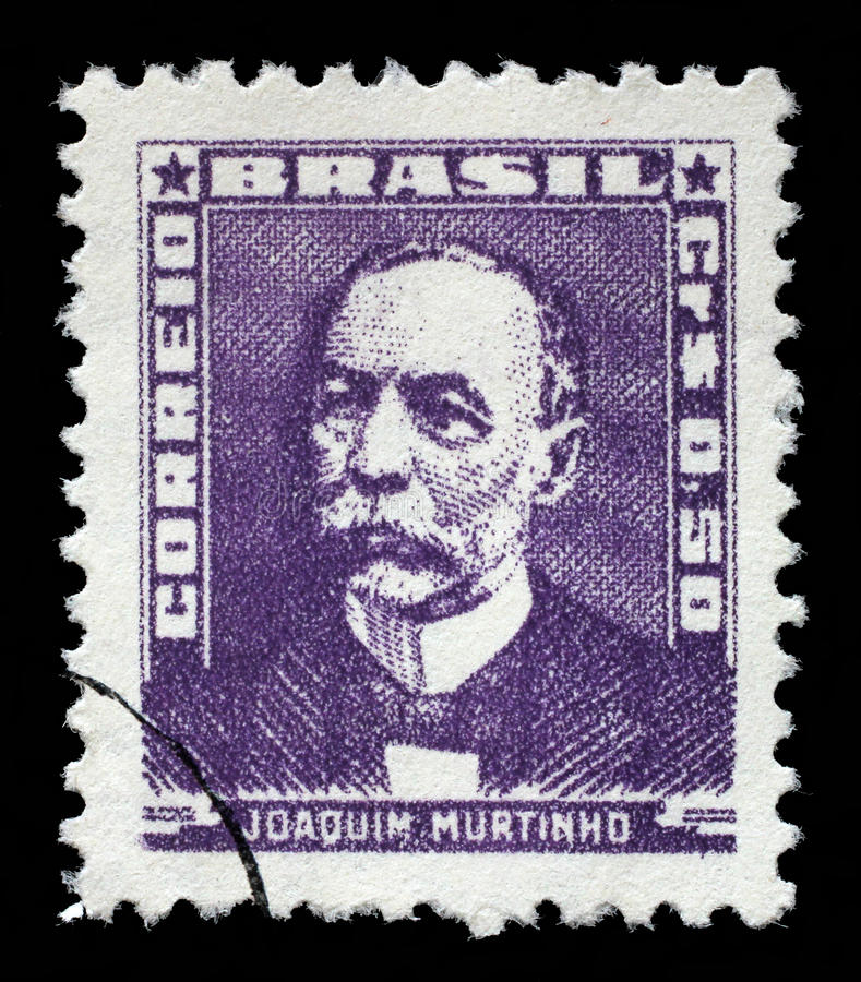Stamp printed in Brazil, shows portrait of Joaquim Murtinho royalty free stock images