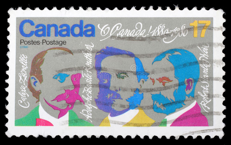 Stamp printed by Canada, shows Composers Lavallee, Routhier, Weir. Circa 1980 stock images