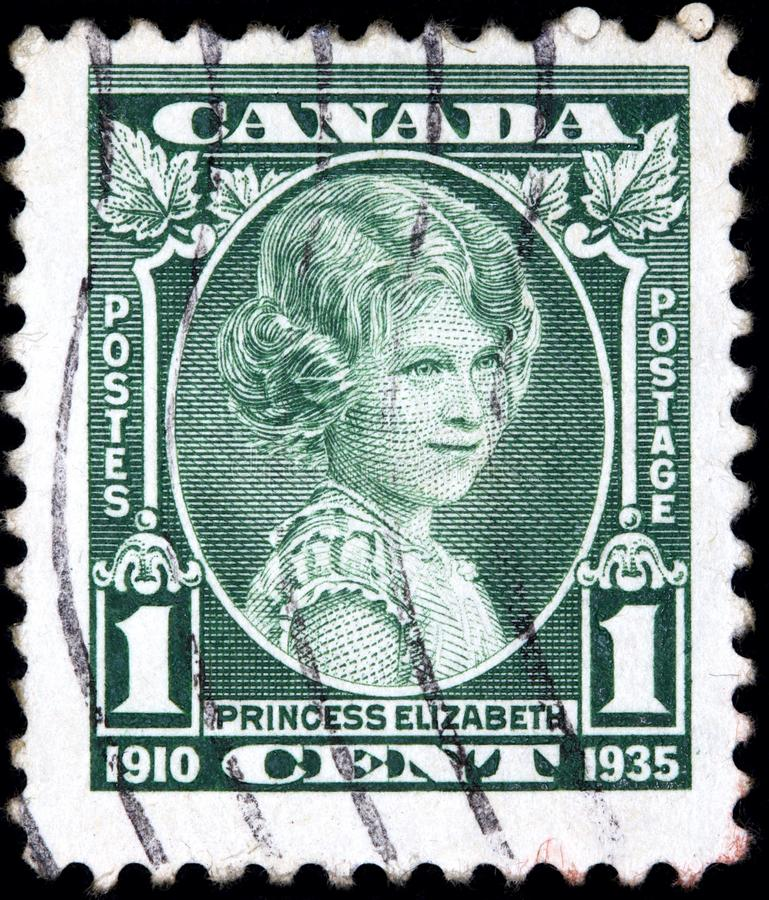 Stamp printed by Canada shows the future Queen Elizabeth aged about 10 royalty free stock image