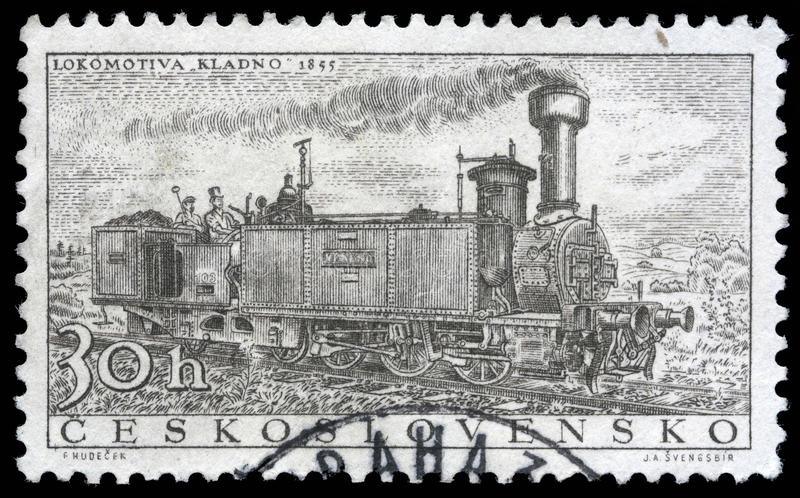 Stamp printed in Czechoslovakia showing the `Kladno` Locomotive. Of 1855, circa 1956 stock image