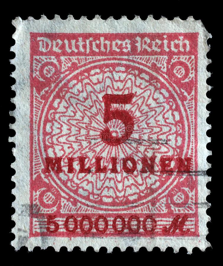 Stamp printed in the Federal Republic of Germany shows image of hyper inflated numbers royalty free stock images