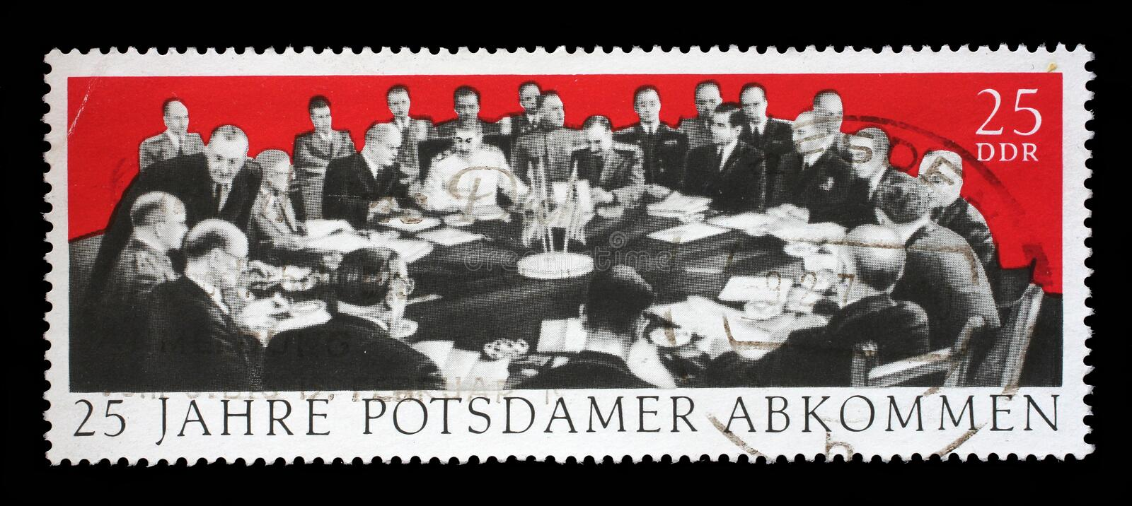 Stamp printed in GDR dedicate 25th anniv. of the Potsdam Agreement. A stamp printed in GDR dedicate 25th anniv. of the Potsdam Agreement among the Allies stock photo