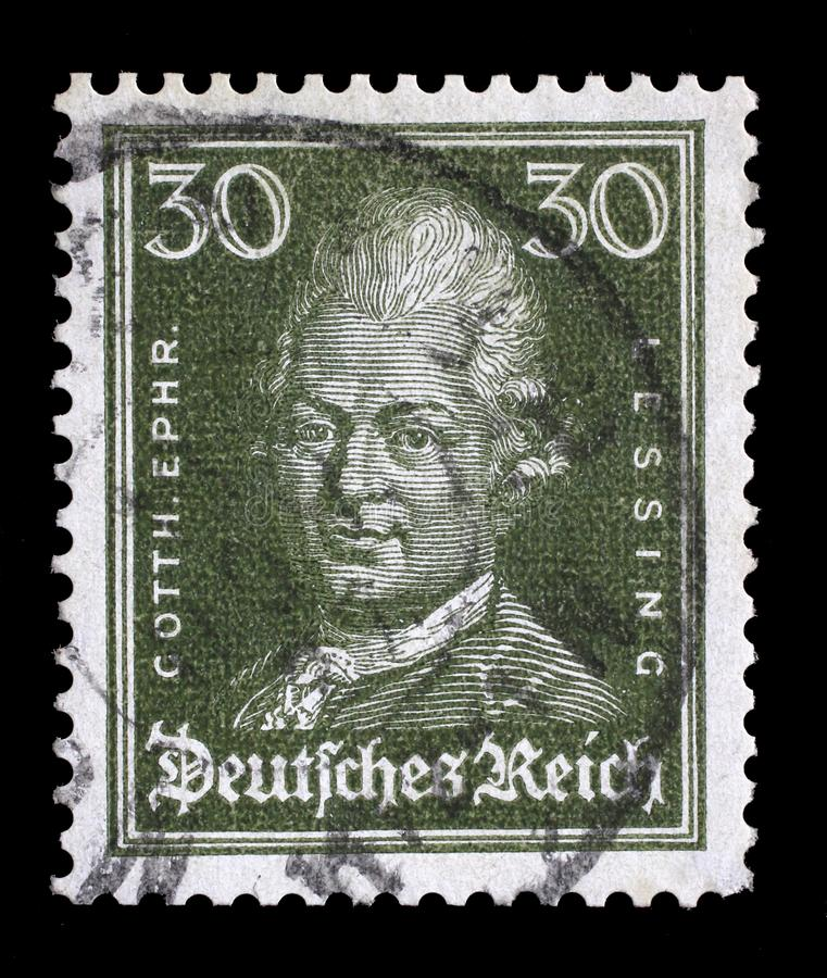 Stamp printed in the German Reich shows image of Gotthold Ephraim Lessing royalty free stock photo
