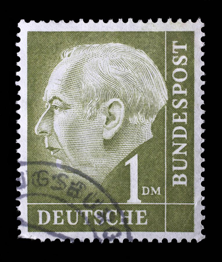 Stamp printed in the Germany shows Theodor Heuss royalty free stock image