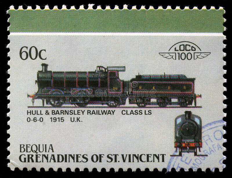 Stamp printed in Grenadines of St. Vincent shows Hull and Barnsley Railway class LS 0-6-0. A stamp printed in Grenadines of St. Vincent shows Hull and Barnsley royalty free stock photography