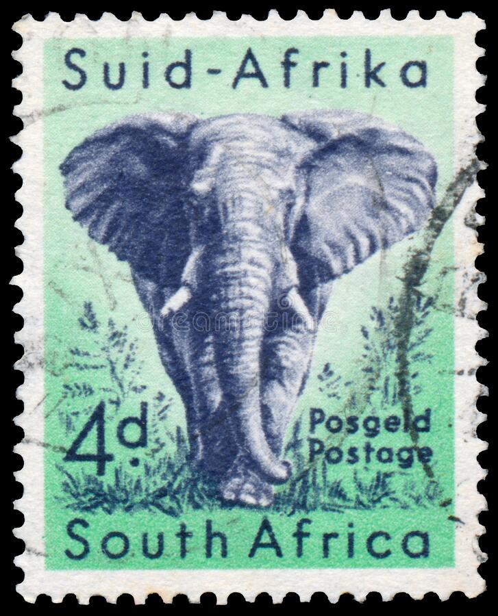 Free Stamp Printed In The South Africa Shows The African Elephant Royalty Free Stock Photography - 182273207