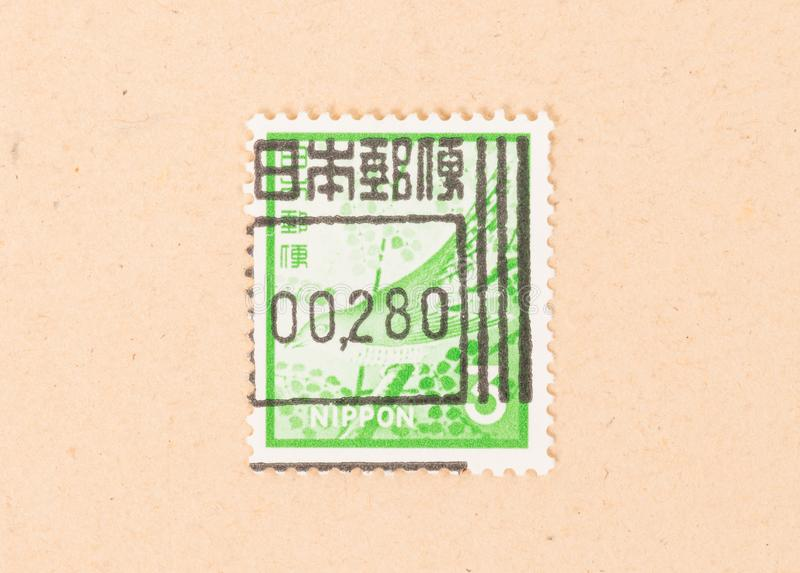 A stamp printed in Japan shows it`s value, circa 1980 stock photo