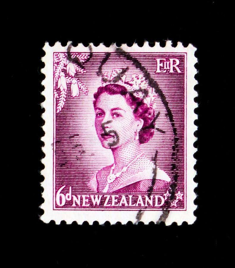A stamp printed in New Zealand shows Six Penny tax, Queen Elizabeth II serie, circa 1954. MOSCOW, RUSSIA - SEPTEMBER 3, 2017: A stamp printed in New Zealand stock images