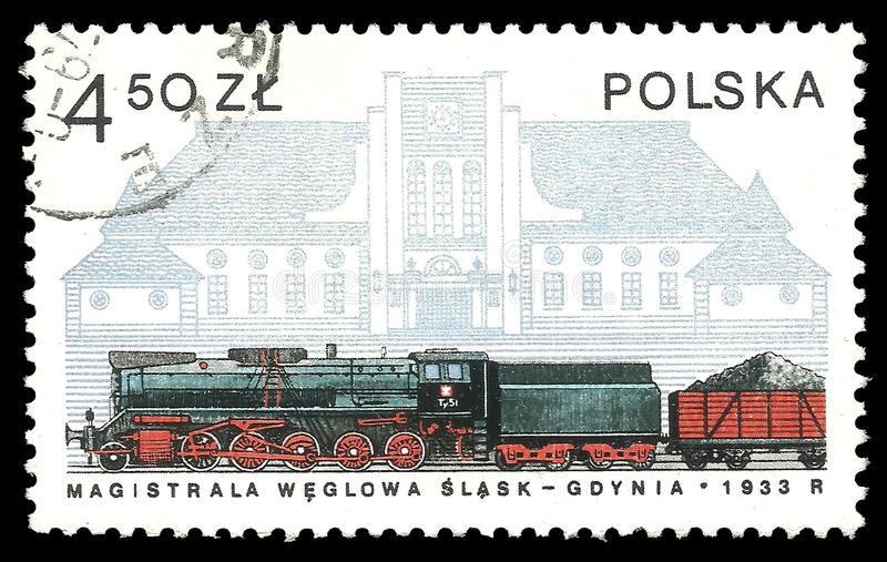 Gdynia Station. Stamp printed by Poland, Color edition dedicated to Locomotives history, shows coal train and Gdynia Station, CIRCA 1978 stock photos