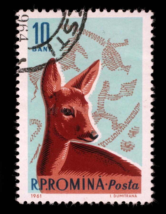 Stamp printed by Romania, show Roe Deer and Bronze Age Hunting Scene royalty free stock photo