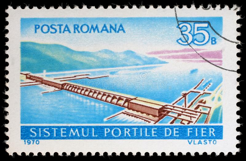 Stamp printed in the Romania shows Aerial View of Iron Gate Power Station. A stamp printed in the Romania shows Aerial View of Iron Gate Power Station royalty free stock photo