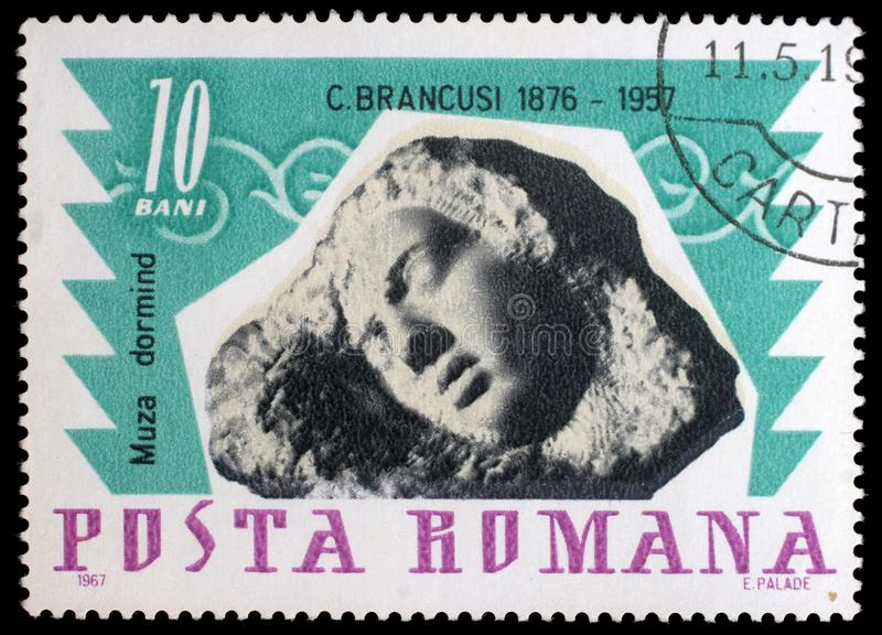 Stamp printed in Romania shows Sleeping muse by Constantin Brancusi. A stamp printed in Romania shows Sleeping muse by Constantin Brancusi, circa 1967 stock images