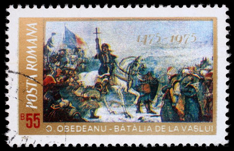 Stamp printed in Romania shows 500th Anniversary Defeat of the Turcs by Stephan the Great Battle of Vaslui by O. Obedeanu. A stamp printed in Romania shows 500th stock image