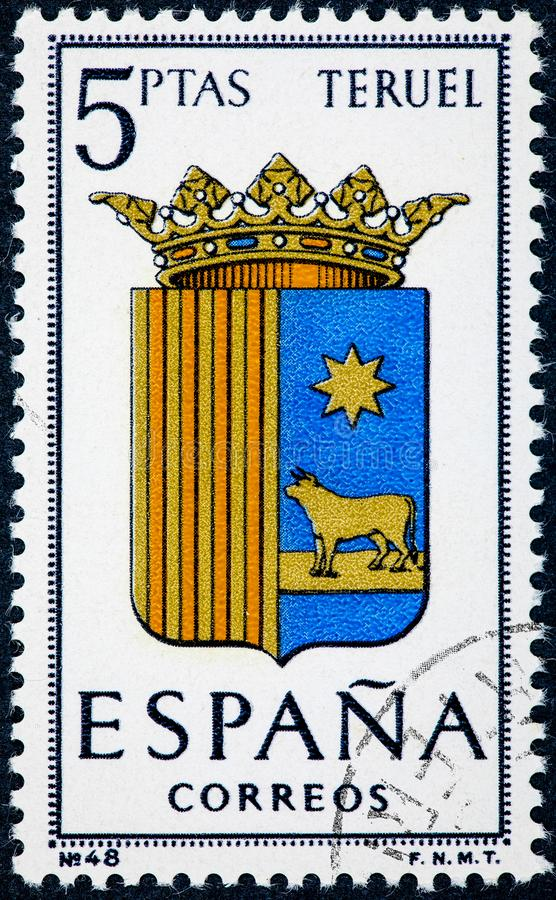 Stamp printed in Spain dedicated to Arms of Provincial Capitals shows Teruel royalty free stock photography