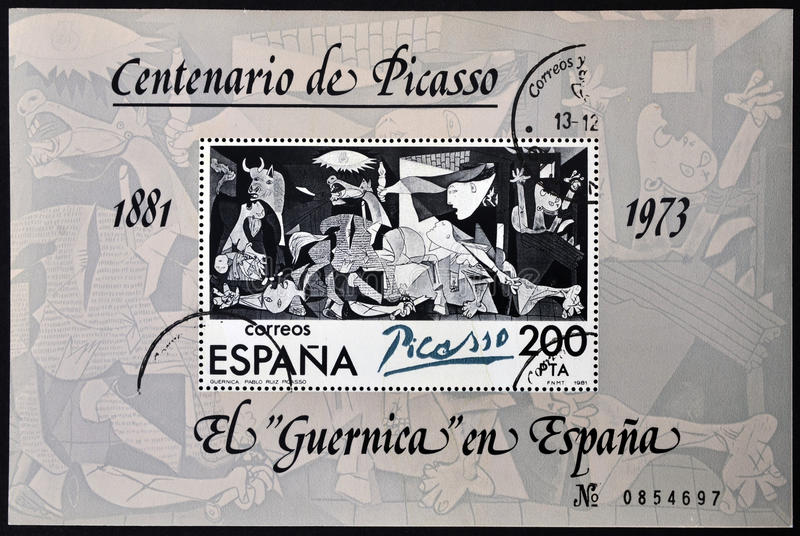 A Stamp Printed In Spain Shows Painting By Pablo P Stock Photos