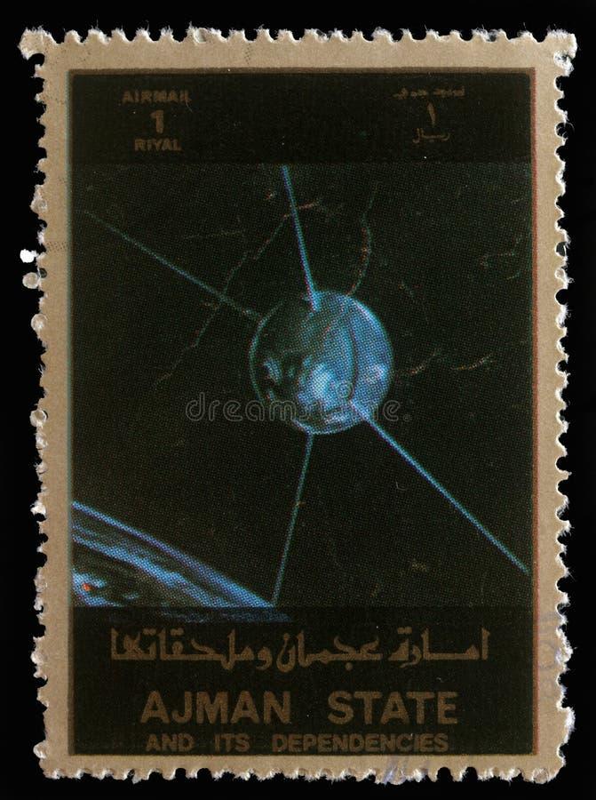 Stamp printed in United Arab Emirates UAE shows Explorer 17 satellite. A stamp printed in United Arab Emirates UAE shows Explorer 17 series satellites, circa royalty free stock images