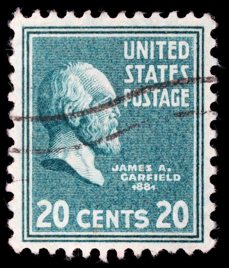 Stamp printed in United States. Displays a portrait of of James Abram Garfield. A stamp printed in United States. Displays a portrait of of James Abram Garfield royalty free stock photos