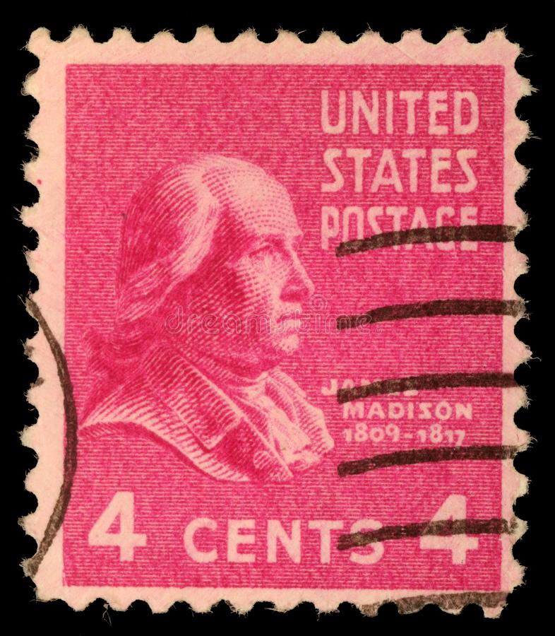A stamp printed in United States. Displays the profile of President James Madison stock photography