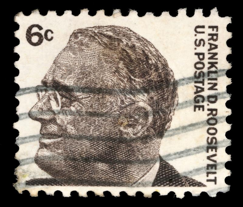 Stamp printed in United states, image of portrait Franklin Roosevelt royalty free stock photos