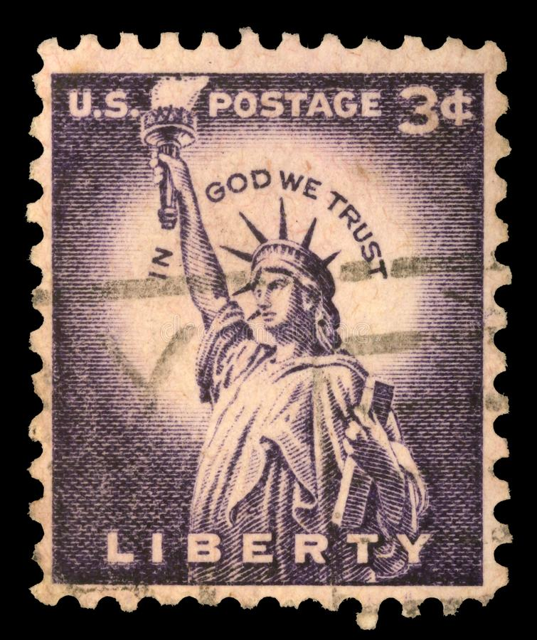 Stamp printed in USA from the `Liberty` issue showing the Statue of Liberty,. A stamp printed in USA from the `Liberty` issue showing the Statue of Liberty stock photo