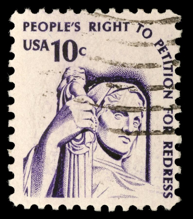 A stamp printed in the USA shows Contemplation of Justice stock photo
