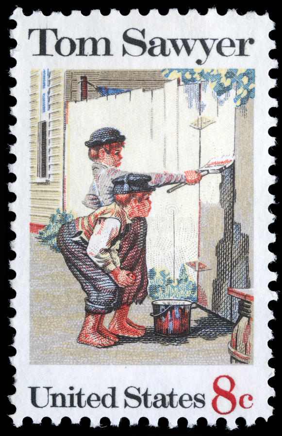Stamp printed in USA shows the painting `Tom Sawyer`, by Norman Rockwell royalty free stock photos