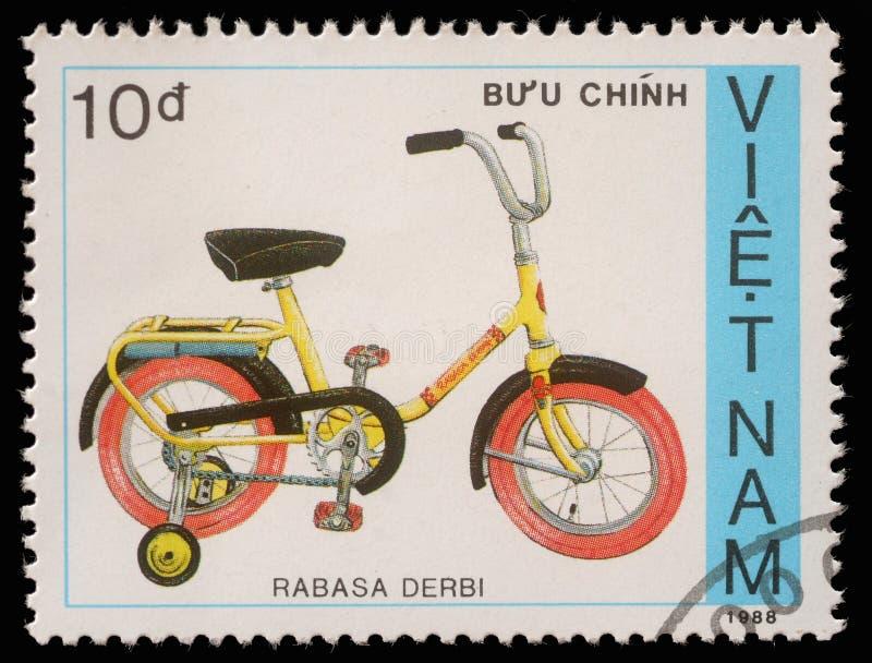 Stamp printed by Vietnam shows bicycle Rabasa Derbi stock images