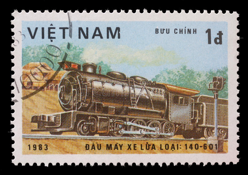 Stamp printed in the Vietnam, shows steam locomotive, Class 140-601. A stamp printed in the Vietnam, shows steam locomotive, Class 140-601, circa 1983 stock photo