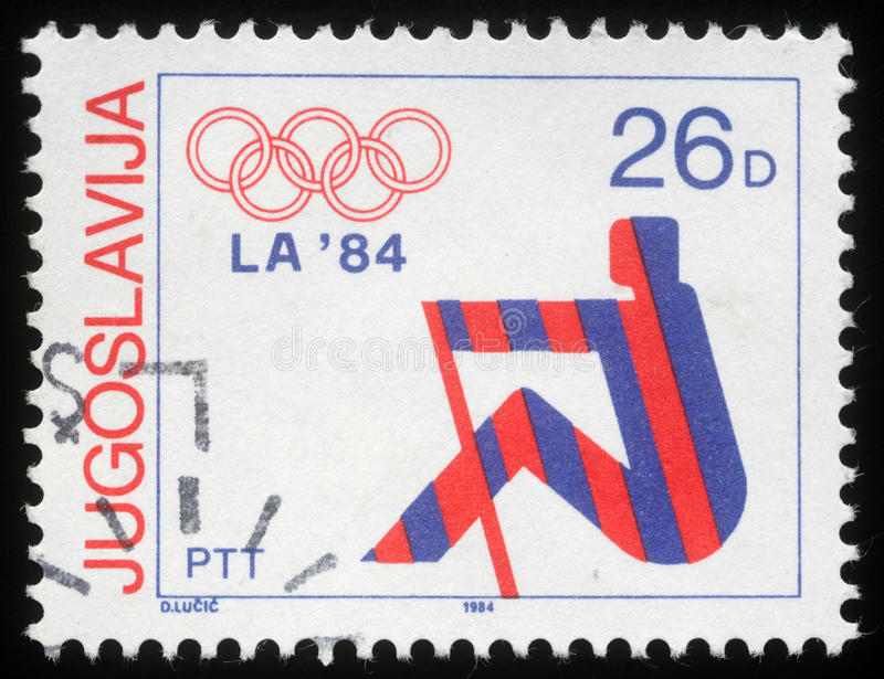 Stamp printed in Yugoslavia shows Olympic games in Los Angeles. Circa 1984 stock images