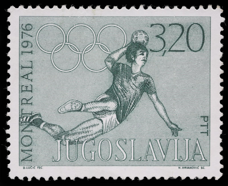 Stamp printed in Yugoslavia shows Olympic games in Montreal. Circa 1976 royalty free stock photos