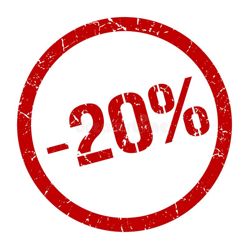 -20% stamp. 20% red round stamp. sale. discount. price tag royalty free illustration