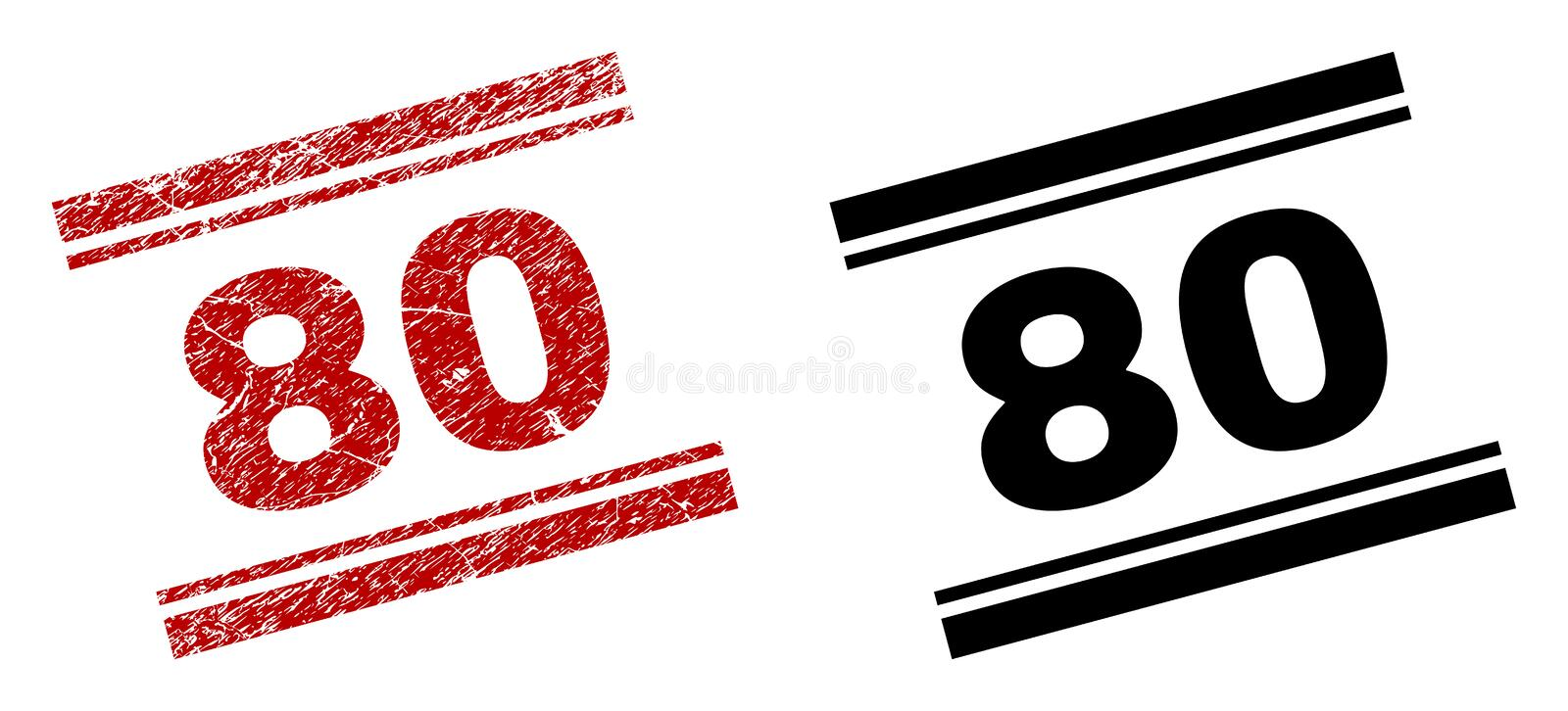 Scratched Textured and Clean 80 Stamp Prints vector illustration