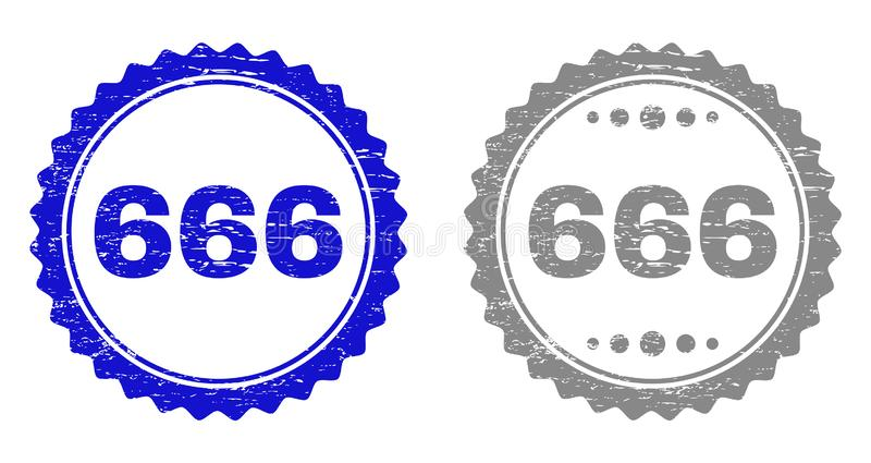 Textured 666 Scratched Stamp Seals with Ribbon. 666 stamp seals with grunge texture in blue and gray colors isolated on white background. Vector rubber overlay royalty free illustration