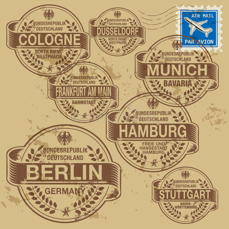 Stamp set. Grunge rubber stamp set with names of Germany cities royalty free illustration