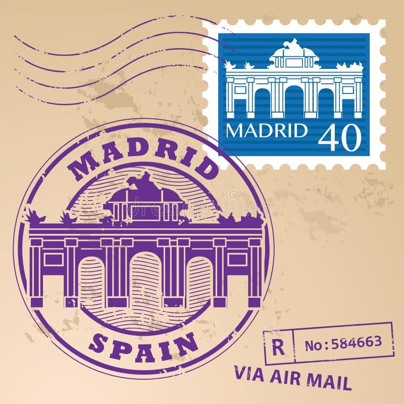 Stamp set Madrid vector illustration