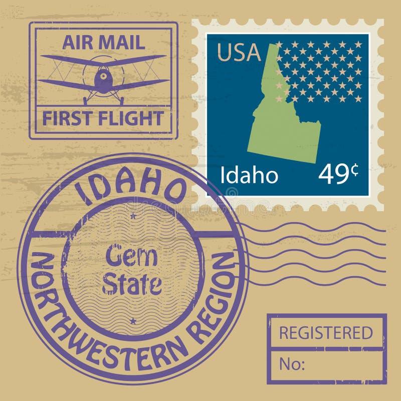 Stamp set with name of Idaho. Grunge rubber stamp set with name of Idaho, vector illustration vector illustration