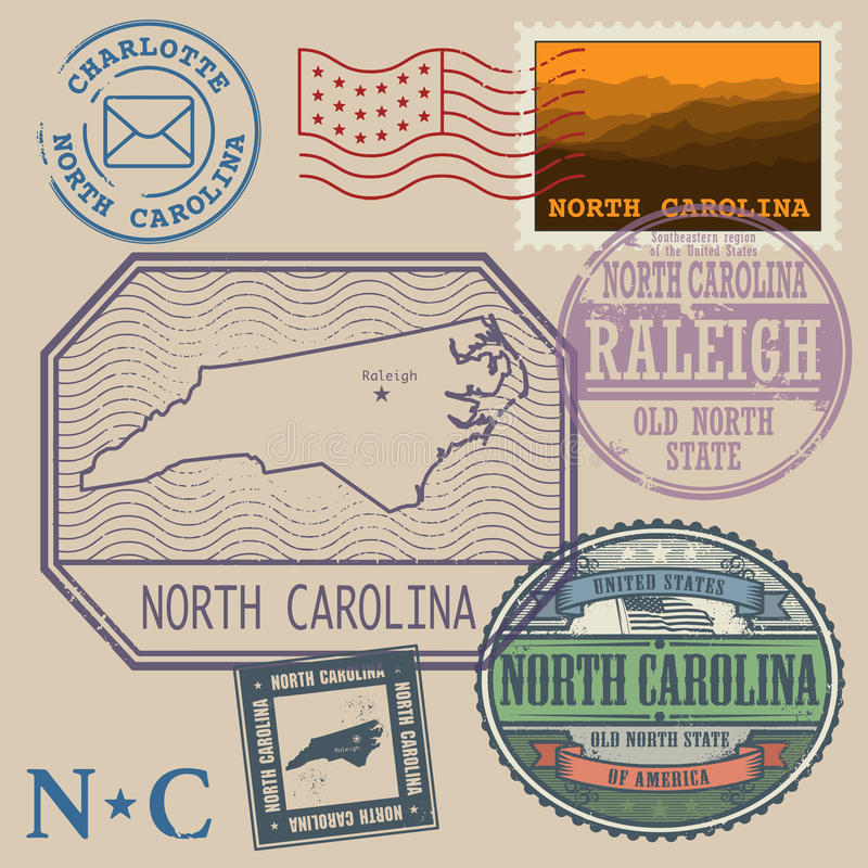 Stamp Set With The Name And Map Of North Carolina Stock