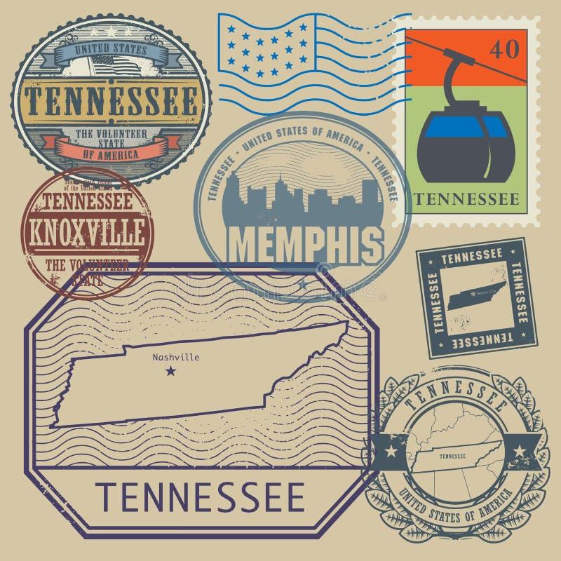 Stamp set Tennessee, United States vector illustration