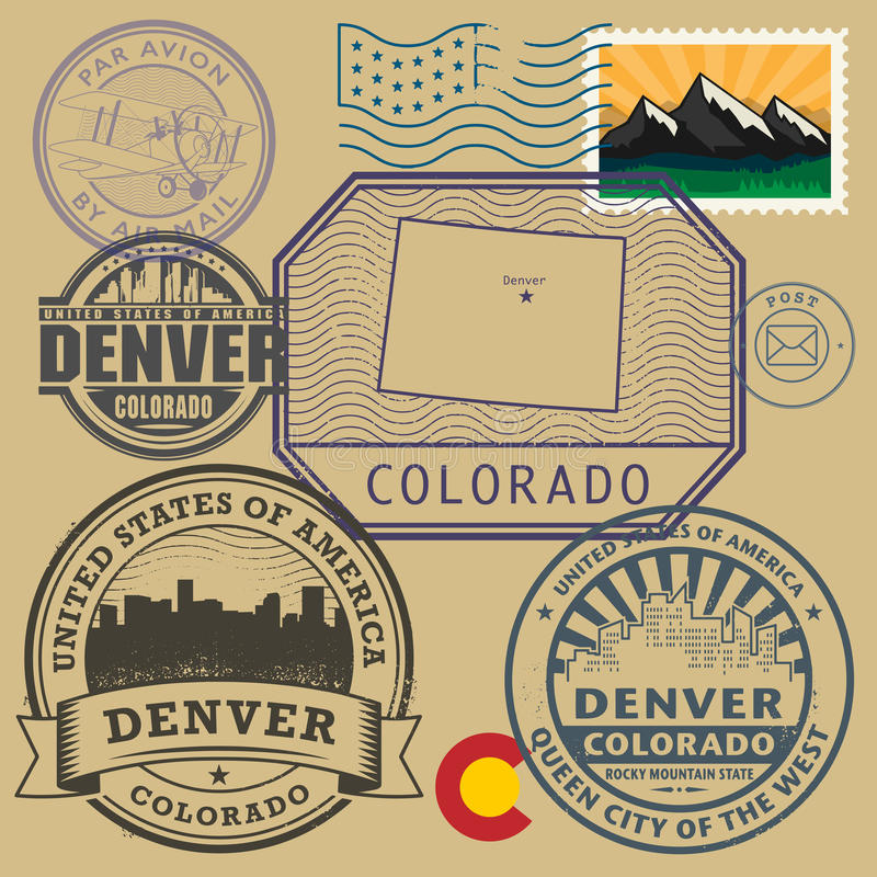 Free Stamp Set With The Name And Map Of Colorado Royalty Free Stock Image - 66651506