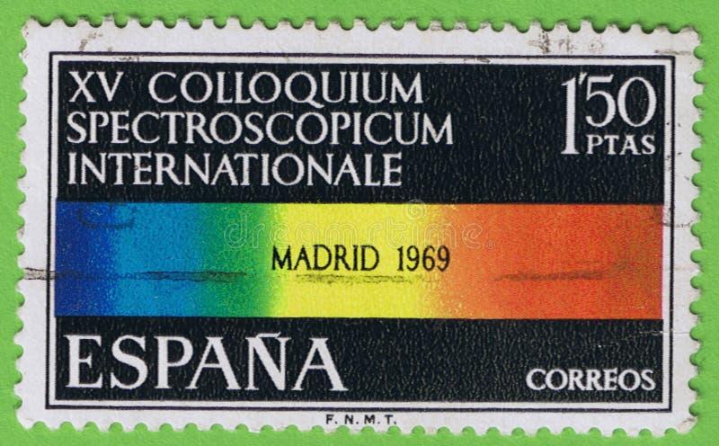 Stamp Spain - Sello España. SPAIN - CIRCA 1969: Stamp printed in Spain. Shows color spectrum Commemoration `XV Colloquium spectroscopicum internationale stock photography