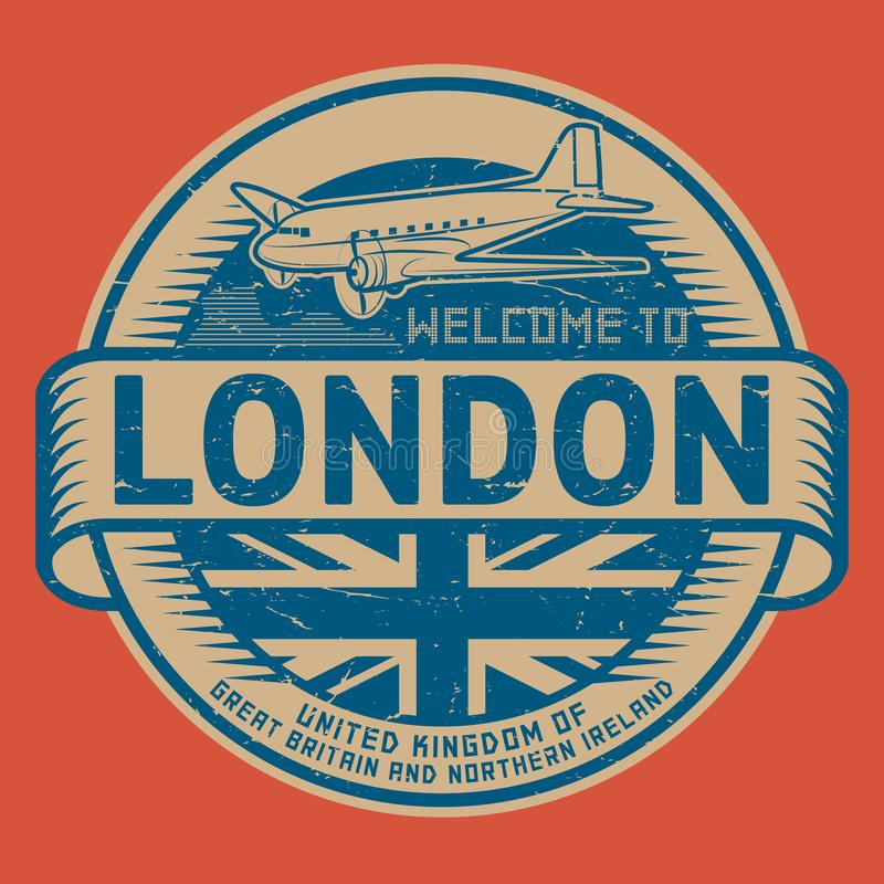 Stamp or tag with airplane text Welcome to London, United Kingdom. Grunge rubber stamp or tag with airplane and text Welcome to London, United Kingdom, vector royalty free illustration