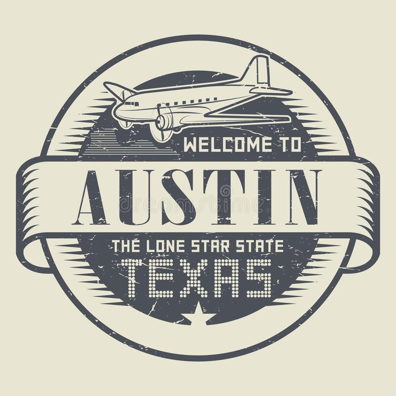 Stamp or tag with airplane and text Welcome to Texas, Austin. Grunge rubber stamp or tag with airplane and text Welcome to Texas, Austin, vector illustration royalty free illustration