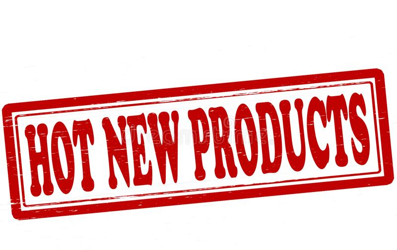 Hot new products. Stamp with text hot new products inside, illustration royalty free illustration
