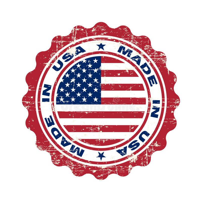 Stamp with text made in USA. Logo american quality. Seal  flag USA in circle. Icon premium quality. Label made in USA. Vector illustration royalty free illustration