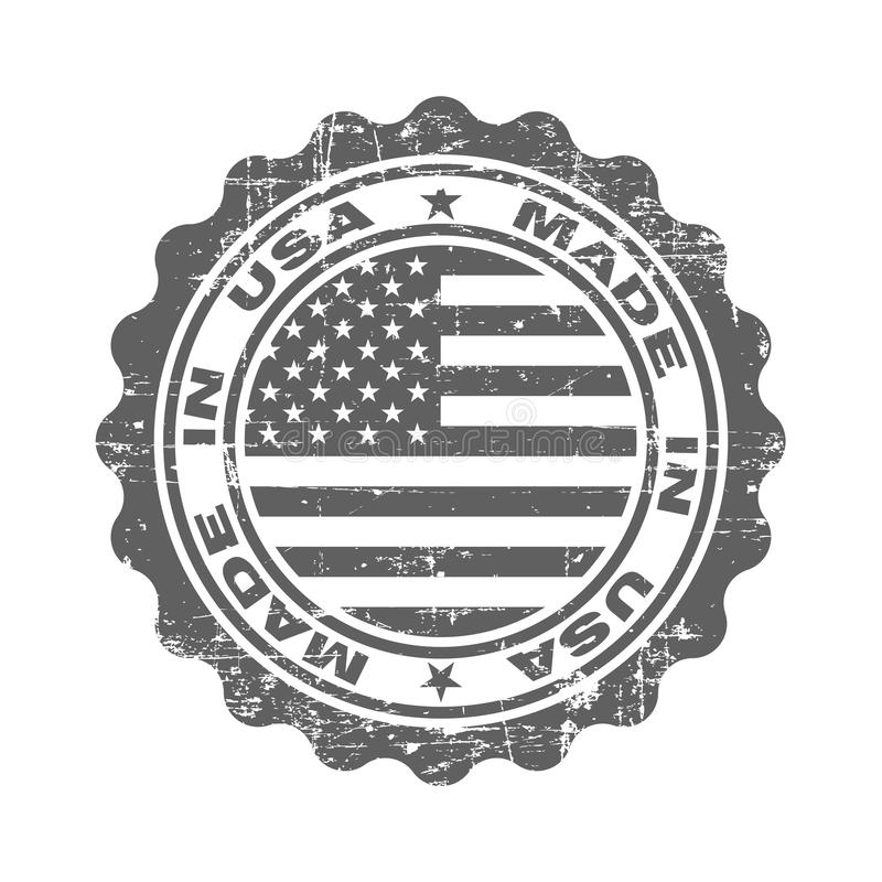 Stamp with text made in USA. Logo american quality. Seal  flag USA in circle. Icon premium quality. Label made in USA. Vector illustration stock illustration