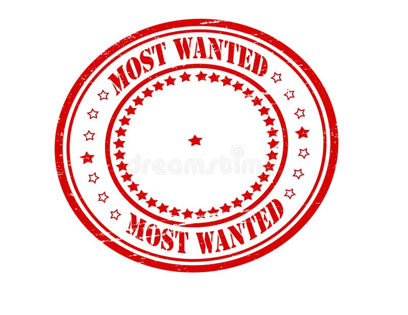 Most wanted. Stamp with text most wanted inside, illustration vector illustration