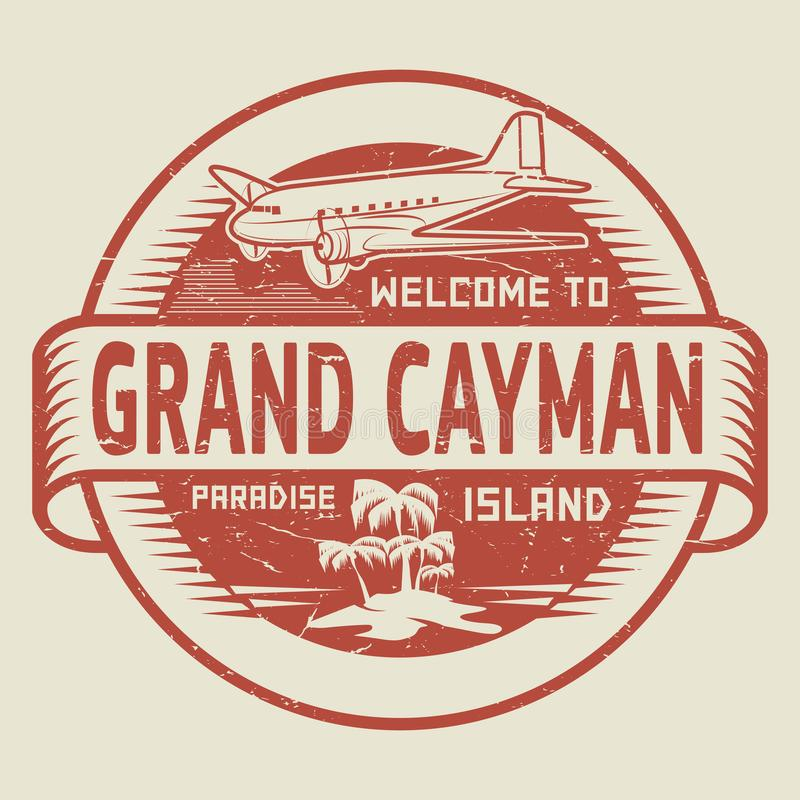 Stamp with the text Welcome to Grand Cayman, Paradise island royalty free illustration