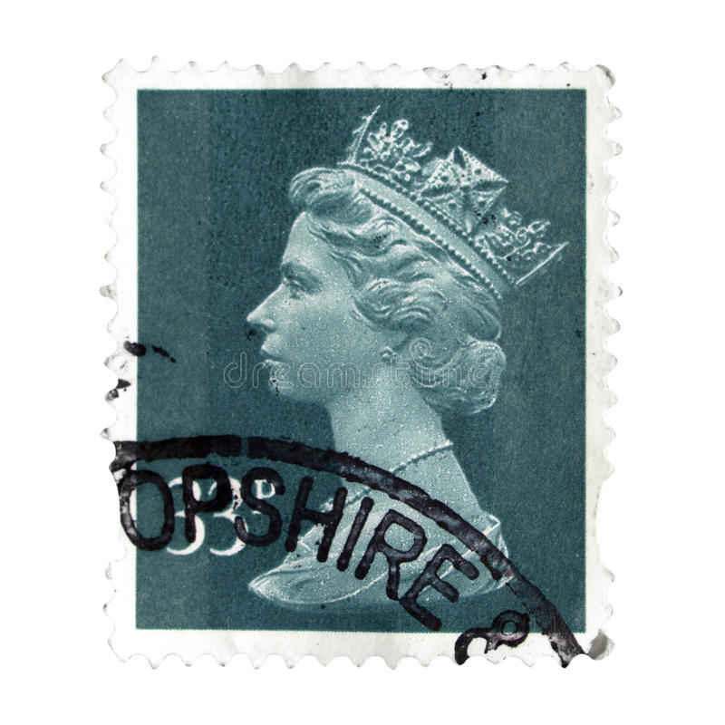 Stamp of United Kingdom. LONDON, UNITED KINGDOM - CIRCA DECEMBER 2016: A stamp printed by United Kingdom shows Her Majesty the Queen royalty free stock images