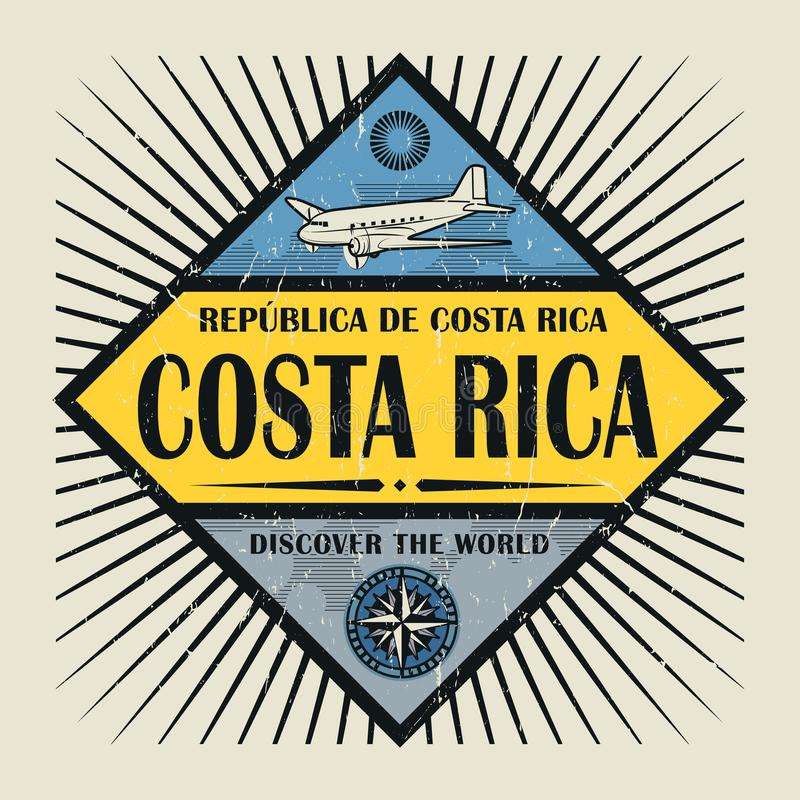 Stamp or vintage emblem text Costa Rica, Discover the World stock illustration